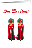 Christmas, Red High Heels, Wreath, Bow card