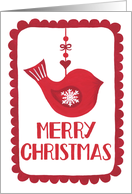 Merry Christmas, Bird, Ornament, Snowflake, Hygge card
