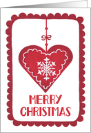 Merry Christmas, Heart, Ornament, Snowflake, Hygge card