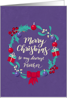 Christmas Wreath, Merry Christmas, Dearest Mother, Purple Distressed Background. card