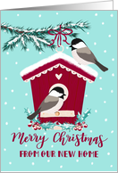 Christmas, We've Moved, New Address, Bird House, Chickadee, Snow card