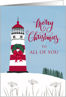 Merry Christmas, Lighthouse, Wreath, Nautical, All of You card