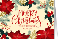 Merry Christmas, Holly, Berries Poinsettia, Faux Gold, Nephew card