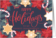 Grandparents, Happy Holidays, Poinsettia, Candy Cane card