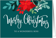 Boss, Merry Christmas, Poinsettia, Rose Hip, Berries, Pine card