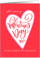 Step Daughter Happy Valentines Day with Big Heart and Hand Lettering card