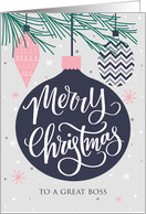Boss, Merry Christmas, Christmas Ornaments, Hand Lettering card
