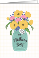 Step Mom, Happy Mother's Day, Mason Jar, Flowers, Hand Lettering card