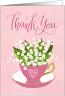 Thank You, Teacup, Lily of the Valley, Hand Lettering, Pink, Flowers card
