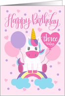 3rd Birthday Unicorn Sitting On Rainbow Surrounded By Balloons card