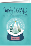 OUR Foster Parents Christmas with Snow Globe of Trees card