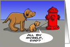 Father and Son Cartoon Dogs Looking at Fire Hydrant card