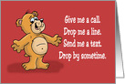Missing You Card With a Cartoon Bear Saying Give Me a Call card