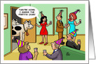 Humorous New Year's Card with a Cartoon Of a Party and Cows card