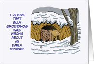 Groundhog's Day Card with Two Bears Coming Out of Their Cave card