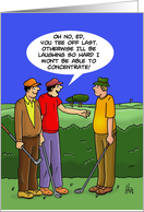 Golfing Birthday Card with Cartoon of Two Golfers Looking at Another card