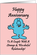 Wedding Anniversary Card with a Cute Cartoon Character card