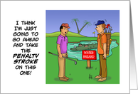 Birthday Card For Golfer With Cartoon About Water Hazard card