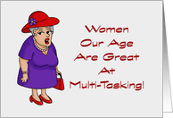 Birthday Card With Lady Wearing A Red Hat Women Our Age card