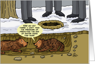 Groundhog Day Card With Cartoon Groundhog Can't Take The Pressure card