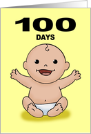 Baby's First 100 Days Card With Laughing Cartoon Baby card