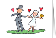 Cute Wedding Congratulations Card With Child-like Drawing Of Couple card