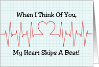 Heartbeat Display With Heart Thinking of You Blank Inside card