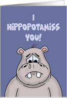 Miss You Card With Cartoon Hippo I Hippopotamiss You card