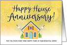 Happy House Anniversary From Realtor with House and Sparklers card