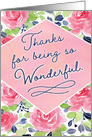 Thanks for Being So Wonderful, Calligraphy with Flowers card