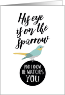 Get Well, Religious - His Eye is On the Sparrow card