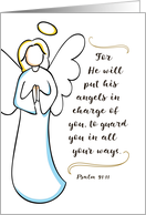 Get Well Religious - He Will Put His Angels in Charge of You card