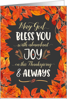 Thanksgiving - May God Bless you with Joy On Thanksgiving with Leaves card