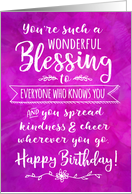 Birthday, You're such a Wonderful Blessing to Everyone Who Knows You card