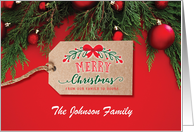 Custom Front, Merry Christmas with Kraft style Tag card