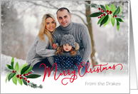 Custom Front Merry Christmas with Soft Snow Overlay and Holly card