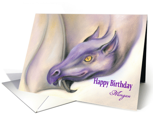 Personalized Name Birthday Purple Dragon Art M card (1530148)