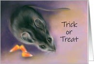Trick or Treat Mouse with Candy Corn Pastel Artwork card