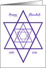 Happy Chanukah Blue Star of David for 5779 2018 card