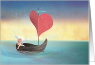 Cupid's Valentine Boat card