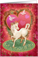 Unicorn and Doves Valentine card