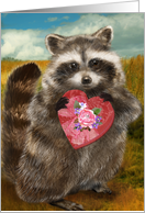 Raccoon Heart Bandit Valentine card