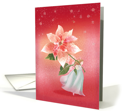 Angel Child with Holiday Poinsettia card (1538988)