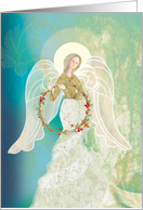 Angel with a Wreath Woven of Twigs and Flowers Blank card