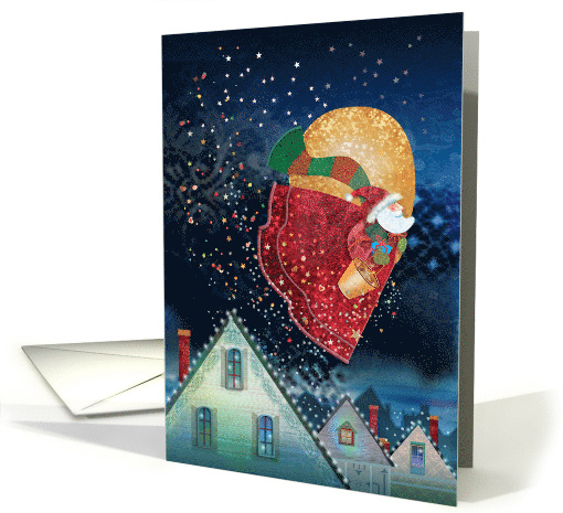 Christmas Santa Flying with Bucket of Sparkles card (1540138)
