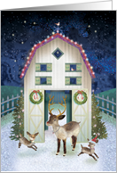 Decorated Christmas Barn with Reindeer card