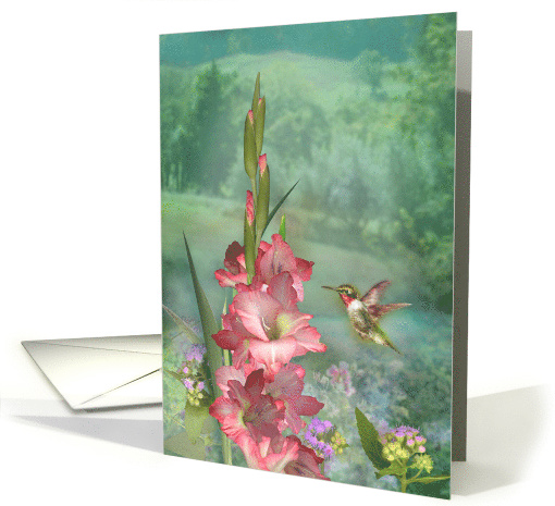 Hummingbird Garden Flower Any Occasion Blank Note card (1634718)