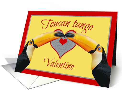 Toucan Tango Dance Move Yellow Gray Valentine card (1666664)