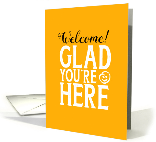 Business Employee Welcome - Glad You're Here Gritty Typography card