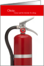 Funny Birthday Fire Extinguisher It's Okay to Sing Now card